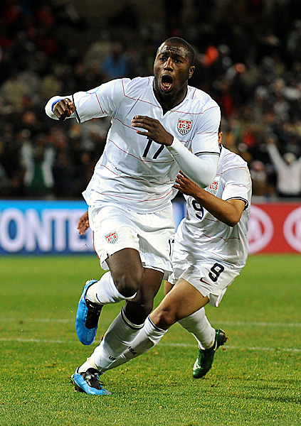 Jozy celebrates scoring goal. USA defeated top ranked Spain 2-0.